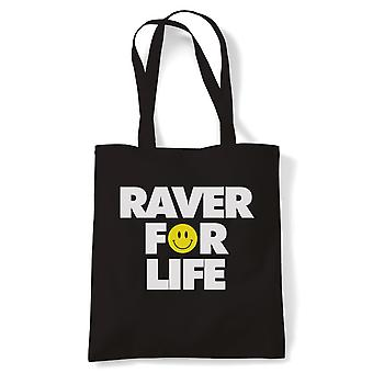Raver For Life Old Skool Rave DJ Festival Tote | Raver Clubland Techno Trance Electro Underground | Reusable Shopping Cotton Canvas Long Handled Natural Shopper Eco-Friendly Fashion