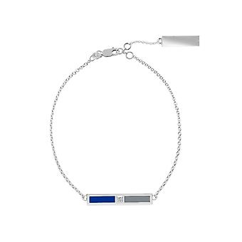 Nova Southeastern University Sterling Silver Diamond Bar Ketting Armband in blauw en grijs