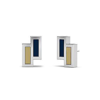 University Of Pittsburgh Sterling Silver Asymmetric Enamel Stud Earrings In Blue and Tan