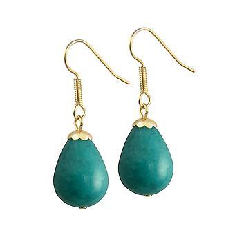 Eternal Collection Fontana Teal Jade Gold Tone Drop Pierced Earrings