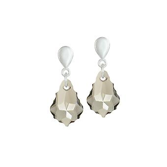 Eternal Collection Baroque Smoky Austrian Crystal Silver Tone Drop Clip On Earrings