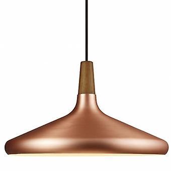 1 Light Dome Ceiling Pendant Oiled Walnut, Copper