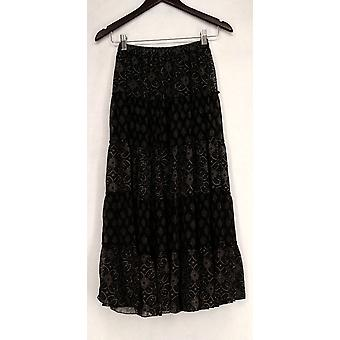 Linea by Louis Dell&Olio Printed Tiered Maxi Black Skirt A199793