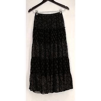 Linea de Louis Dell-apos;Olio Printed Tiered Maxi Black Skirt A199793