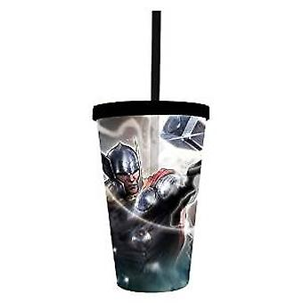 Cold Cup Plastic Strew - Marvel - Thor w/Hammer New cc-avas-thor