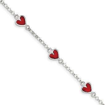 925 Sterling Silver Solid kiillotettu Emali Red Love Heart pojille tai tytöille Rannekoru 6 Tuuman KevätRing