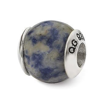 925 Sterling Silver polerade reflektioner Sodalite Stone Bead Charm Hänge Halsband Smycken Gåvor för kvinnor