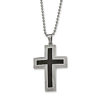 Roestvrij staal gepolijst Carbon Fiber Religieuze Geloof Kruis ketting 22 Inch Sieraden Geschenken voor vrouwen