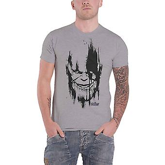 Avengers Infinity War T Shirt Thanos Head Black new Official Marel Mens Grey