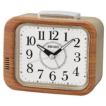 Seiko Bell Alarm Clock with Sweep Second Hand Wood Finish (Model No. QHK046B)