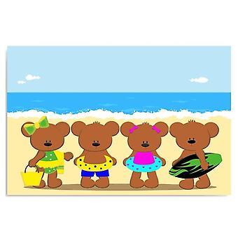 Kankaalle, kuva kankaalle, karhut rannalla