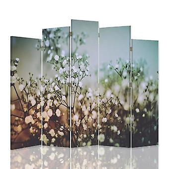 Dekorative Raumteiler, 5 Paneele, doppelseitig, 360 ° Drehbare Leinwand, Pflanzen mit weißen Blumen