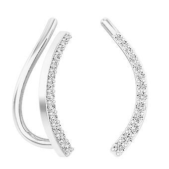 Dazzlingrock Collection 0.15 Carat (ctw) 10K Round White Diamond Ladies Crawler Climber Earrings, White Gold