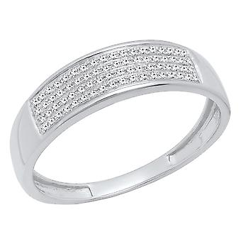 Dazzlingrock Collection 0.15 Carat (ctw) 10K Round Diamond Men's Micro Pave Wedding Anniversary Band, White Gold