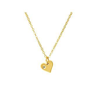 GEMSHINE ketting hanger massief 925 zilver of goud verguld hart met diamant