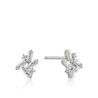 Ania Haie Sterling Silver Rhodium Plated Cluster Stud Earrings E018-05H