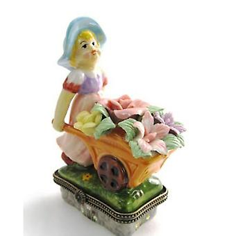 Flower Cart Little Girl Porcelain Hinged Trinket Box