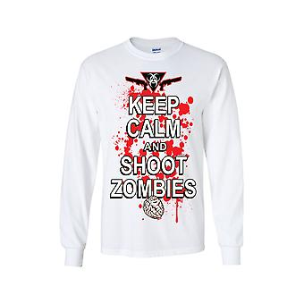 Unisex holde ro og skyte zombier langermet skjorte