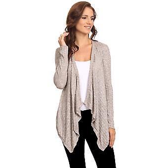 Women's Ribbed Cardigan Short Draped Open Front Athleisure