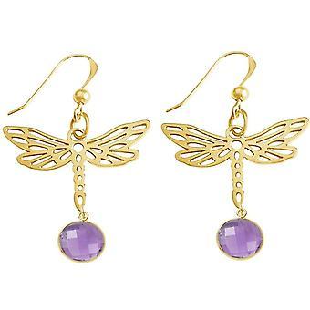 Gemshine korva korut libelle violetti ametistia 925 hopea tai kullattu