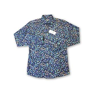 Eton Contemporary fit shirt in blue abstract bird pattern
