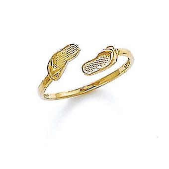 14k Yellow Gold Double Flip Flop Toe Ring Jewelry Gifts for Women - .8 Grams