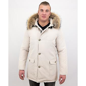 Winter coat Parka With Big Real Fur Collar - Beige