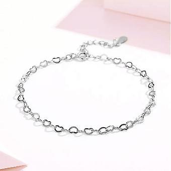 925 sterling silver kedja av hjärtan kärlek armband