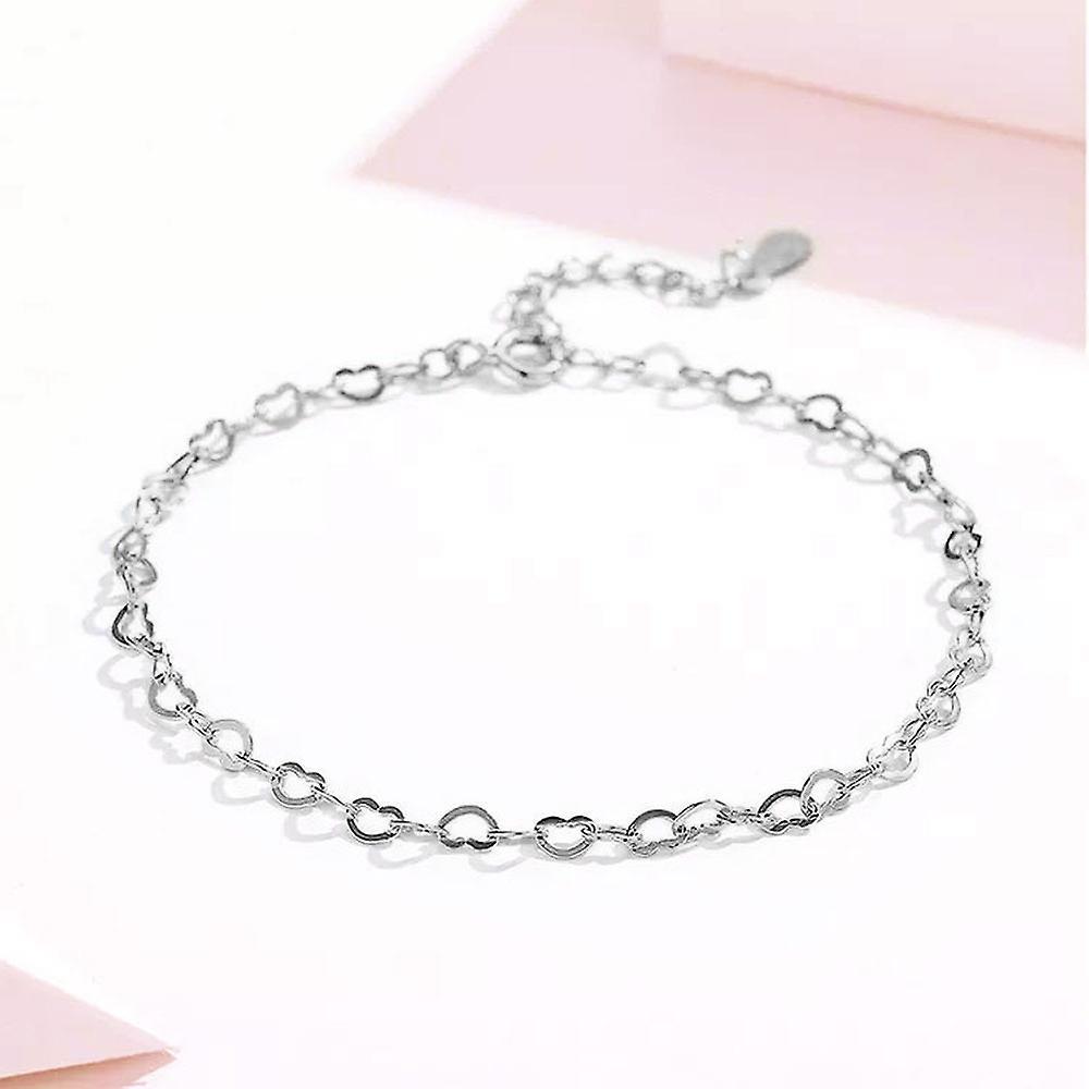 925 Sterling Silver Chain Of Hearts Love Bracelet
