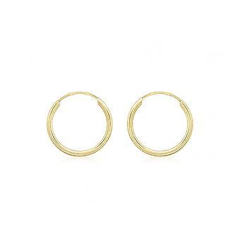 Eeuwigheid 9ct goud 15mm Plain Sleeper hoepel oorbellen