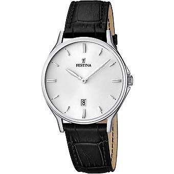 Festina F16745 2 Watch - läder vit svart man