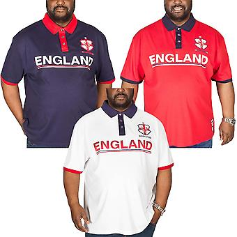 Duke D555 Mens Foster Big Tall Short Sleeve England Football Polo Shirt Top Tee