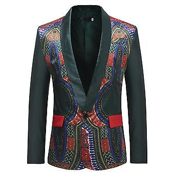 Alle Themen Men's ethnischen Blazer 1 Knopf gedruckt afrikanischen Vintage Event Kleid Jacken