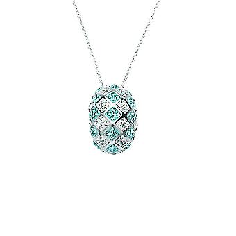 925 Sterling Silver Rhodium Plated Aqua White Crystal Checkerboard Necklace 18 Inch Jewelry Gifts for Women