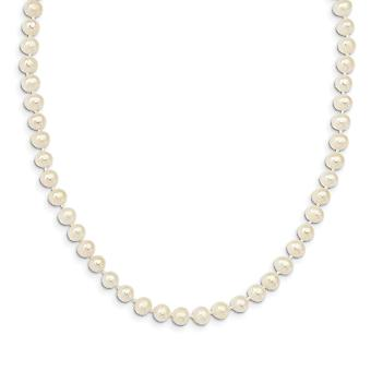 925 Sterling Silver Madi K Rhod plate 5 6mm Freshwater Cultured Pearl With 2inch Ext. Necklace 14 Inch