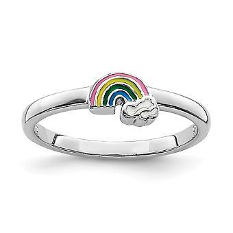 925 Sterling Silver Rhodium pläterade för pojkar eller flickor Enameled Rainbow Ring - Ring Storlek: 3 till 4