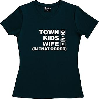 Town Kids Wife (In That Order) Navy Blue Women's T-Shirt