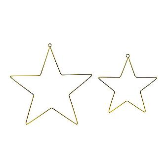 Gold Metal Hanging Star Party Decorations - Set of 2
