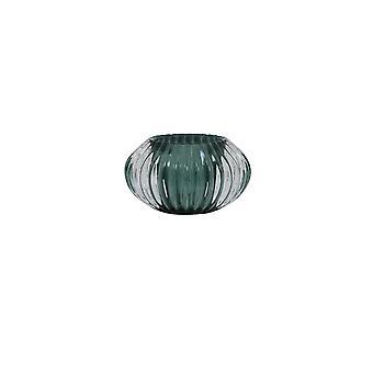 Light & Living Tealight 11x6.5cm - Pertu Clear Glass And Dark Green