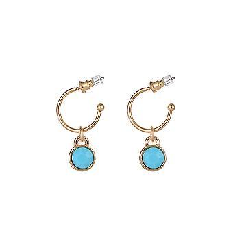 Blue Detail Half Hoop Drop Earrings