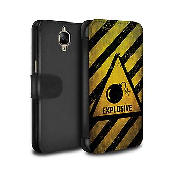STUFF4 PU Leather Wallet Flip Case/Cover for OnePlus 3/3T/Explosive/Hazard Warning Signs