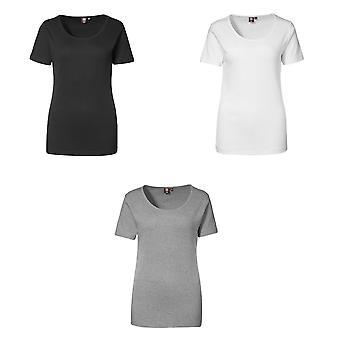 ID Womens/Ladies 1x1 Rib Fitted Short Sleeve T-Shirt