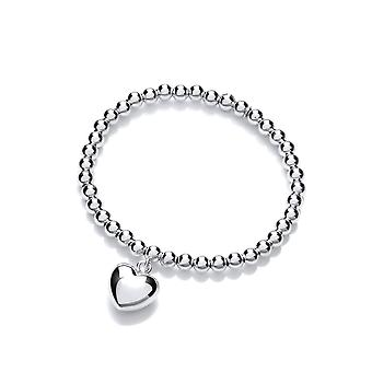 David Deyong Sterling Silver Mini Stretchy Beaded Heart Bracelet