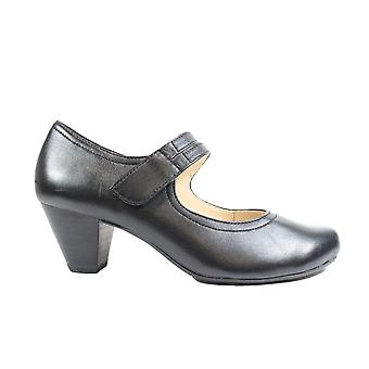 Caprice 24403 Black Leather Womens Wide Fit Heeled Mary Jane Shoes