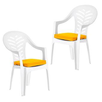 Gardenista Garten Sitzkissen | Für Resol Palma Outdoor Stuhl | Hypoallergene Ersatz-Sitzpolster | Wasserabweisende Stoff | Ideal für den Außenbereich | 2 Stück (Gelb)