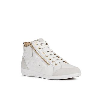 Geox Womens D Myria B Lace Up Trainer White/Off White