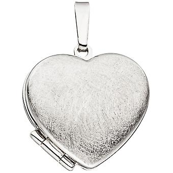 Heart Medallion Locket heart 925 sterling silver rhodium plated ice Matt pendant silver heart pendant