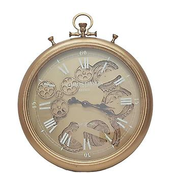 French Stopwatch moving cogs wall clock - gold