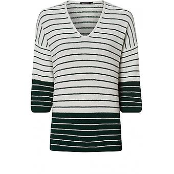 Olsen Green & Off White Striped Jumper
