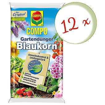Sparset: 12 × كومبو حديقة الأسمدة الحبوب الزرقاء® نوفاتيك® 3 كجم